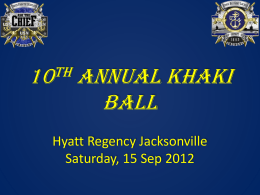 KHAKI BALL Hyatt Regency Jacksonville Saturday, 15 Sep 2012