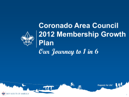 2012 Membership Goals - Coronado Area Council