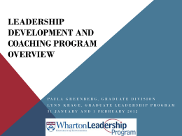 Graduate Leadership Program - Wharton Center for Leadership and
