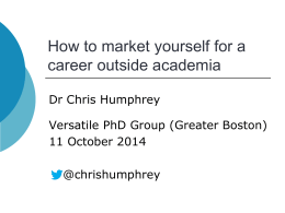 `How to market yourself for a career outside