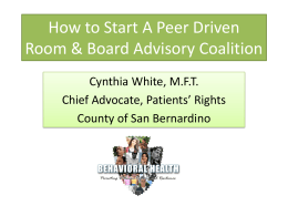 How to Start A Peer Driven Room & Board Coalition
