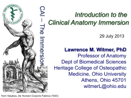 Introduction to the Clinical Anatomy Immersion Lawrence M. Witmer