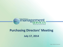 July 17, 2014 - Purchasing Directors` Meeting