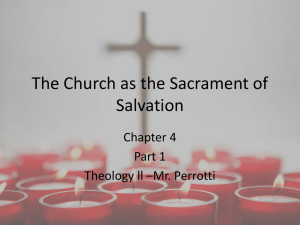 The Church as the Sacrament of Salvation intro chapter 4