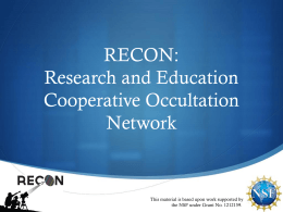 RECON Overview (Spring 2013)