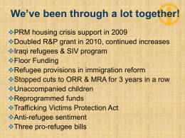 Policy Update and Strategies for Promoting Resettlement