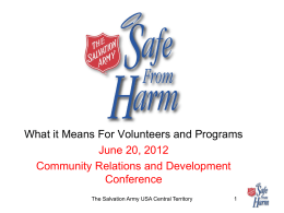 Safe From Harm - The Salvation Army USA Central Territory