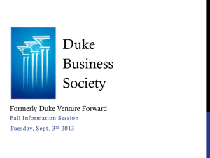 Duke venture forward - Duke Business Society