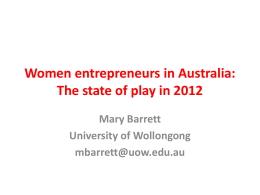 Women entrepreneurs in Australia * the big picture in 2012