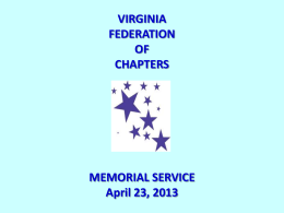 2013 Memorial Service - Virginia Federation of Chapters