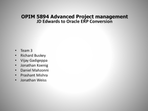 OPIM 5894 Advanced Project management JD Edwards to Oracle
