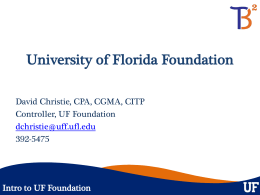 Intro to UF Foundation - University of Florida