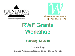 RWF Workshop Powerpoint - Foundation for Roanoke Valley