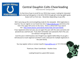 Central Dauphin Colts Cheerleading Its that time of year to enroll for