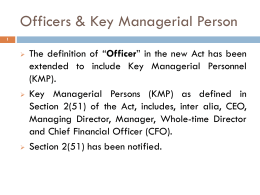 Key Managerial Personnel (KMP) under