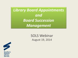 Board Appointments - Southern Ontario Library Service