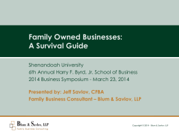 Family Owned Businesses - Shenandoah University Business