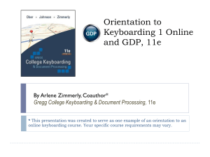 Orientation to Keyboarding Online and GDP