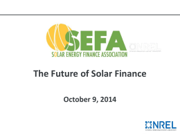 The Future of Solar Finance - The Solar Energy Finance Association