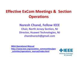 Effective ExCom Meetings & Section Operations