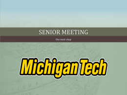 Senior Meeting - Michigan Technological University