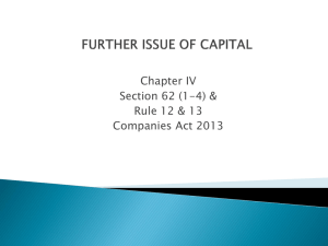Further Issue of Capital (Section 62 (1
