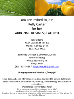You are invited to join Kelly Carter for her ARBONNE