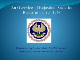 An Overview of Rajasthan Societies Registration Act, 1958