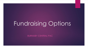 Fundraising Options - Burnaby Central Secondary School