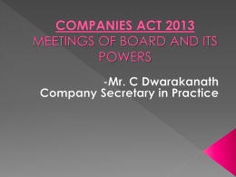 Board Meetings and Power of Boards