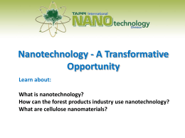Nanotechnology - A Transformative Opportunity