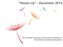 Heads Up December 2014 - Health Education Yorkshire and the