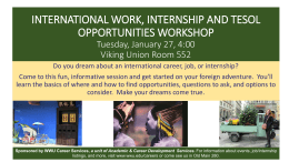 INTERNATIONAL WORK, INTERNSHIP AND TESOL