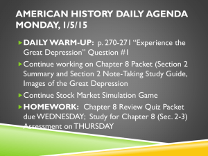 American History Daily Agenda Monday, 1/5/15