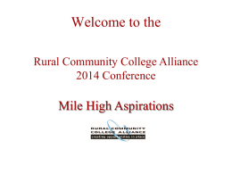 Thanks To Our Sponsors - Rural Community College Alliance