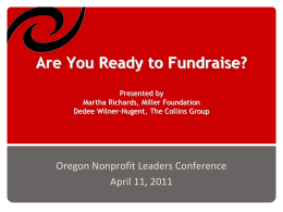 Are You Ready to Fundraise? - Oregon Nonprofit Leaders Conference
