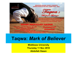 Taqwa: Mark of a Believer