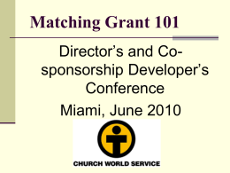 Matching Grant 101 - Church World Service