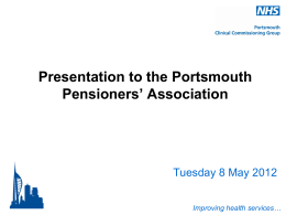 Improving health services… - Portsmouth Clinical Commissioning