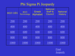 Answer - Phi Sigma Pi National Honor Fraternity