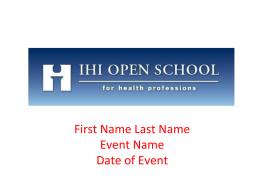 IHI Open School Overview Presentation