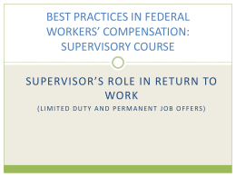 VA BEST PRACTICES IN FEDERAL WORKERS` COMPENSATION