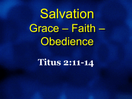 Salvation by GRACE through FAITH