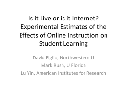 Is it Live or is it Internet? Experimental Estimates of the