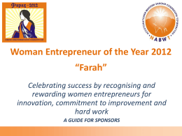 "Women Entrepreneur of the Year 2012 ""xxx xxx"""