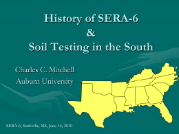 History of SERA-6 & Soil Testing in the South