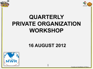 Private Organization Workshop – August 2012