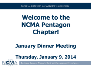 NCMA Pentagon January Dinner Meeting 1.9.14