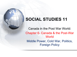 Chapter 6 Canada in the Post War World