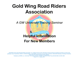 Presentation Example - Gold Wing Road Riders Association